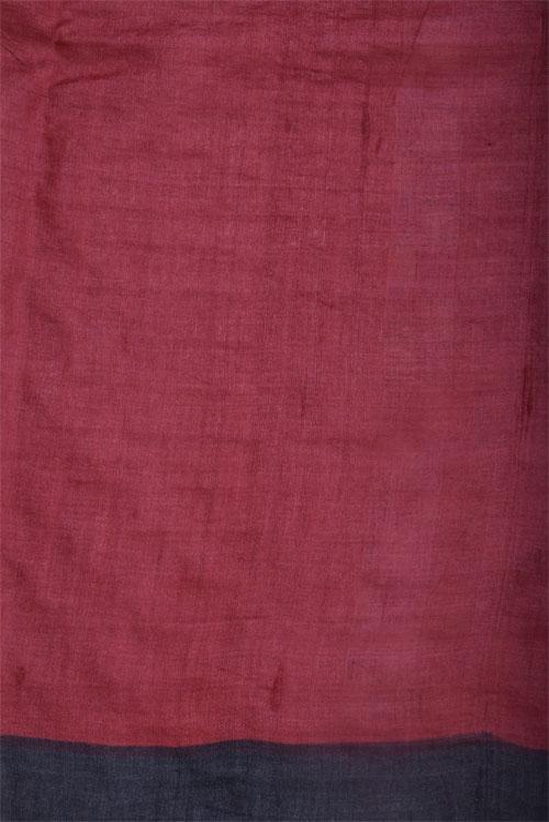 Printed black tussar saree with cutwork-12527