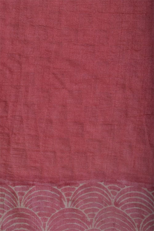 Printed light peach tussar saree with cutwork-12537