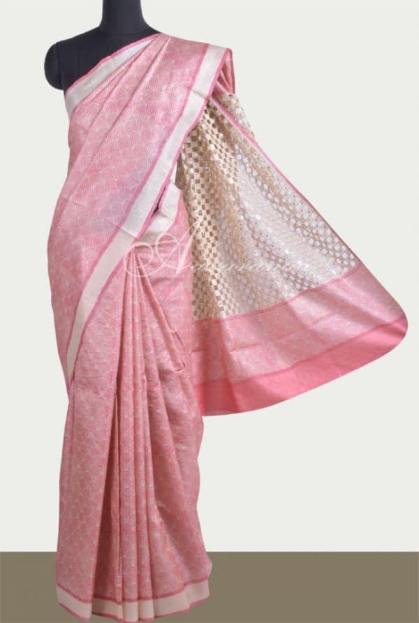 Printed light peach tussar saree with cutwork-0