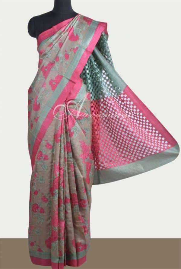 Printed olive green tussar saree with cutwork-0