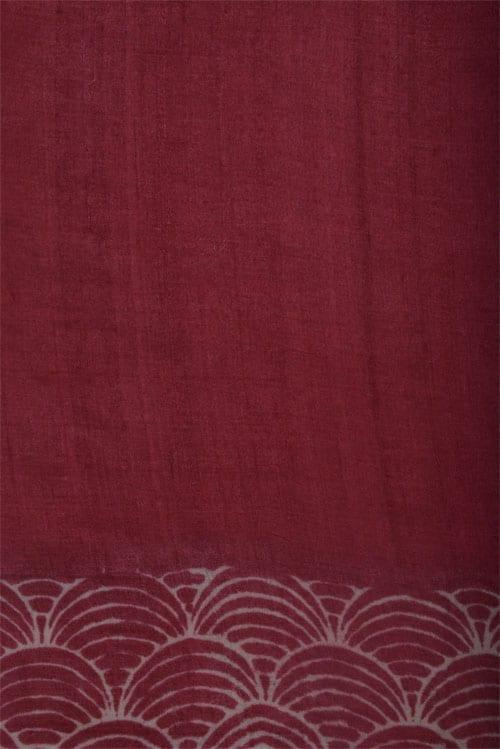 Printed maroon tussar saree with cutwork-12561