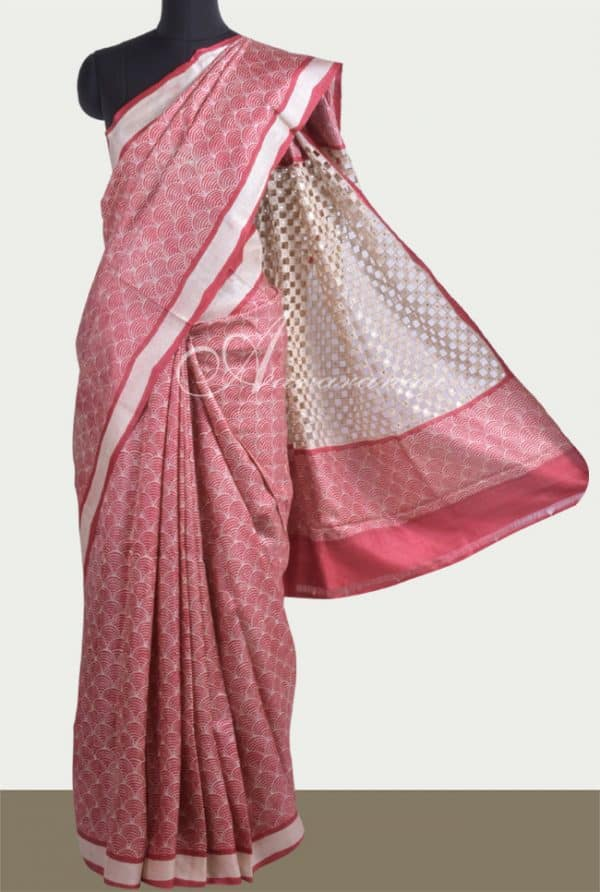 Printed maroon tussar saree with cutwork-0