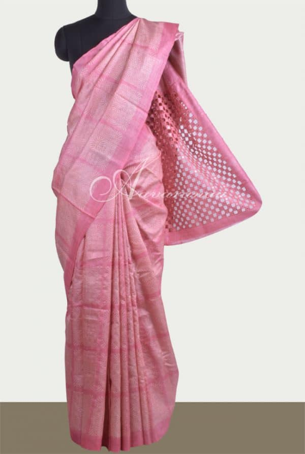 Printed tussar saree in pink with cutwork-0