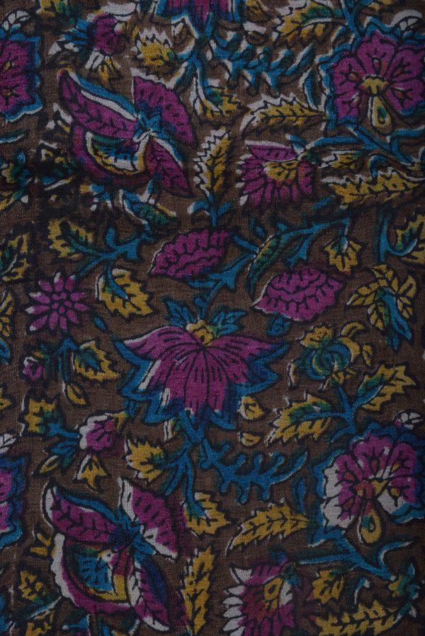 Mustard tussar saree with printed pallu-12571
