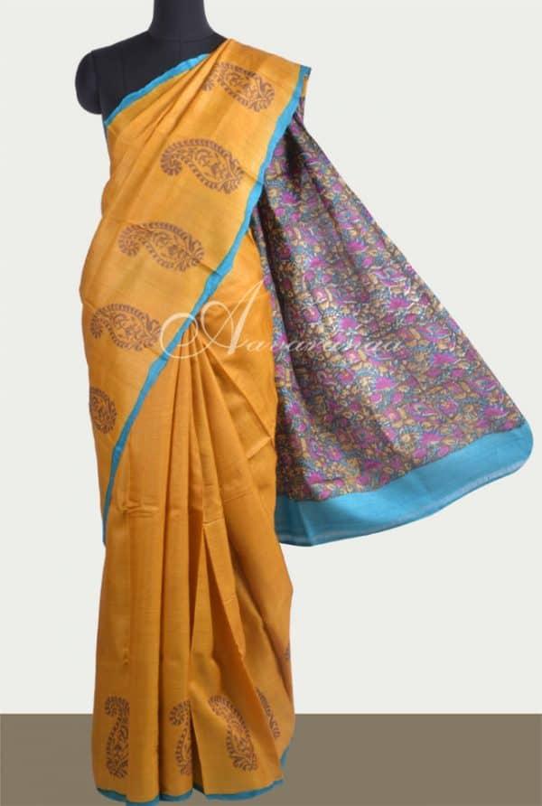Mustard tussar saree with printed pallu-0