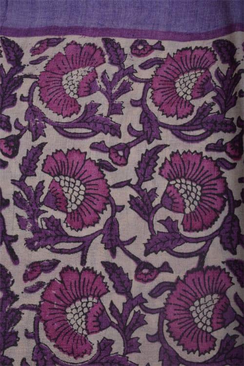 Printed majenta tussar saree-12575