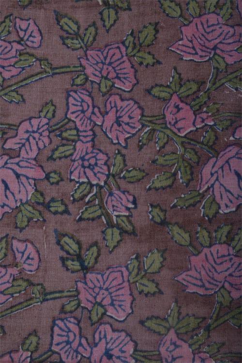 Peach tussar saree with printed pallu-12577