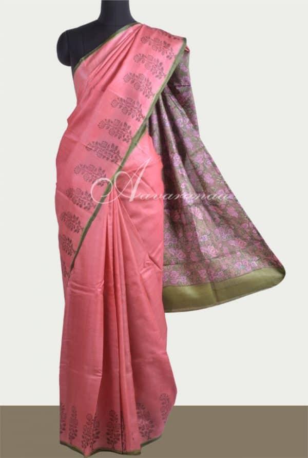 Peach tussar saree with printed pallu-0