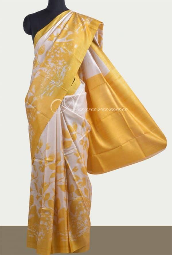 Beige tussar saree with prints-0