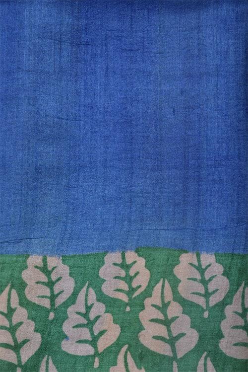 Blue and green half & half tussar saree-12603