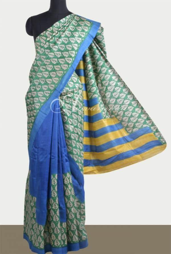 Blue and green half & half tussar saree-0