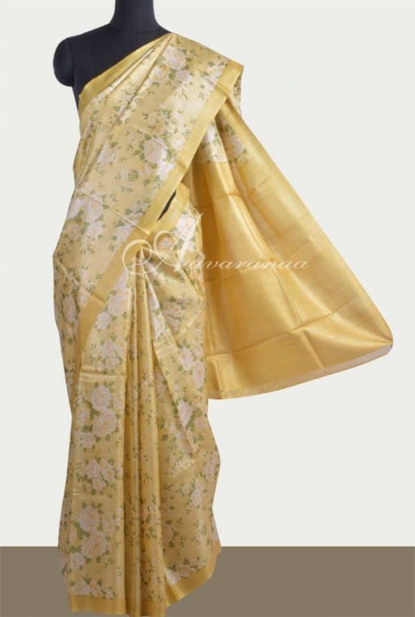 Lemon yellow printed tussar saree-0