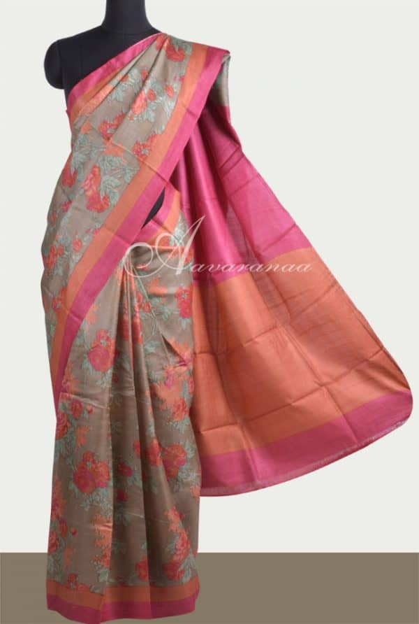 Oilve green printed tussar saree-0