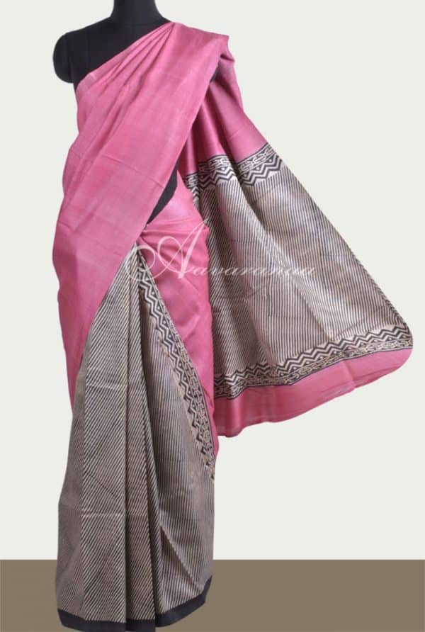 Partly pallu tussar saree-0