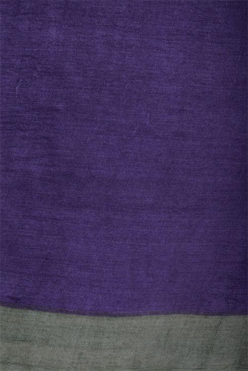 Beige and violet printed tussar saree-12623