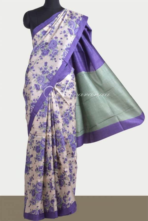 Beige and violet printed tussar saree-0