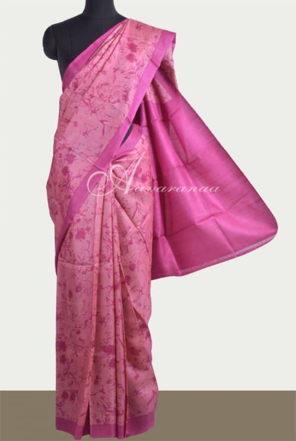 Peach tussar saree-0