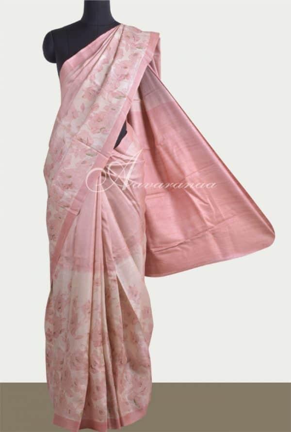 Half & half pink tussar saree-0