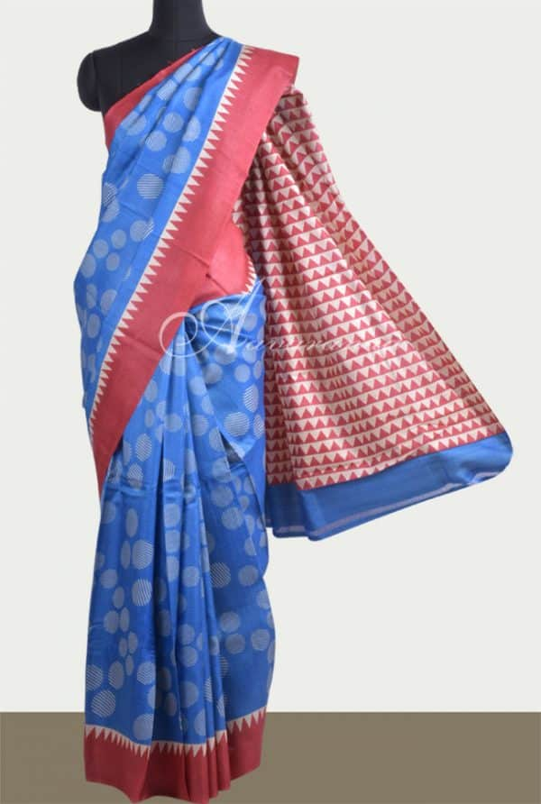 Blue and red printed tussar saree-0