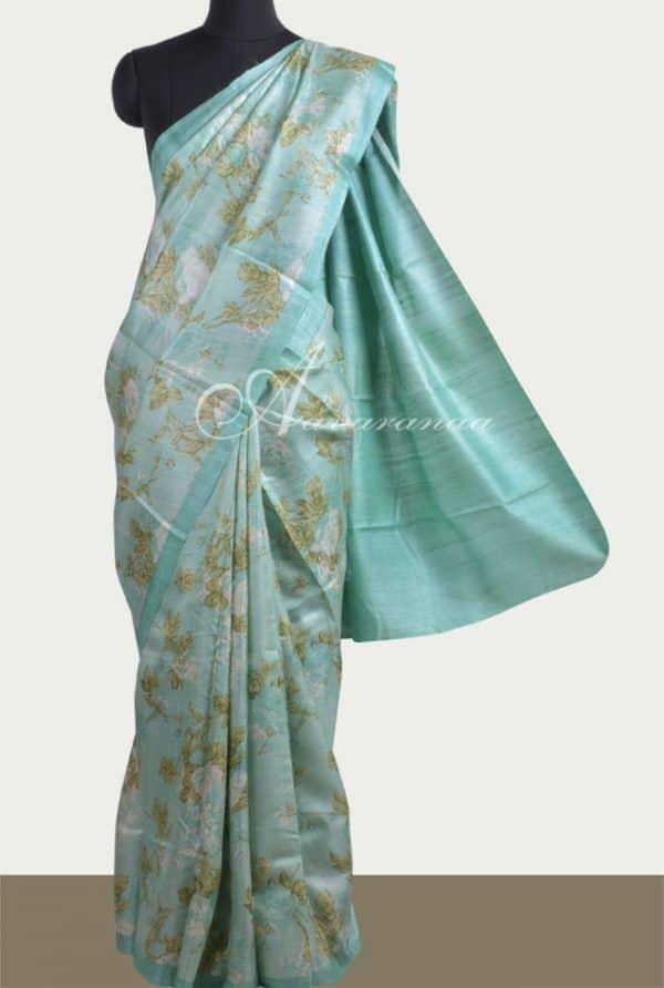 Sea green printed tussar saree-0