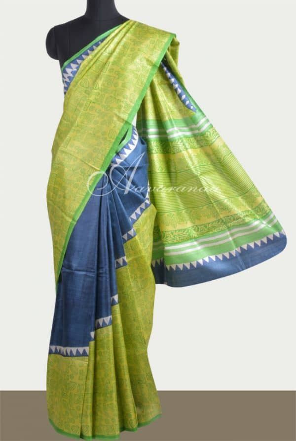 Blue and green rising style tussar saree-0