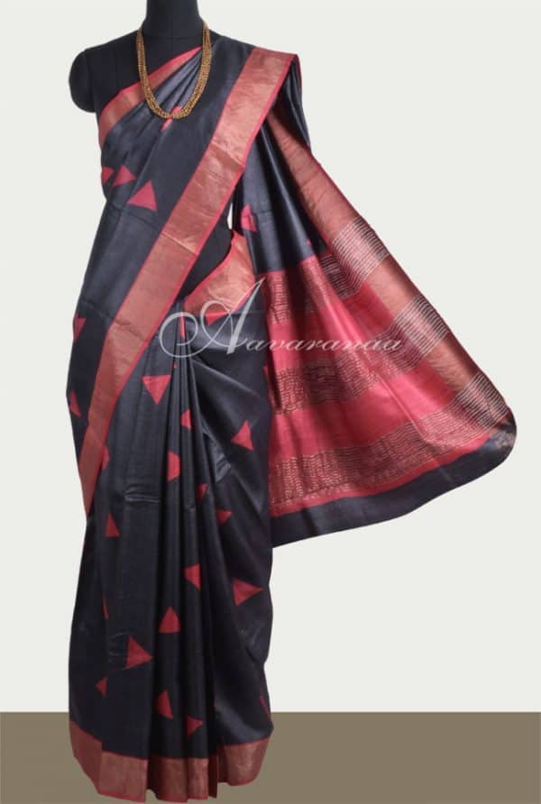Black tussar saree with red tissue border-0