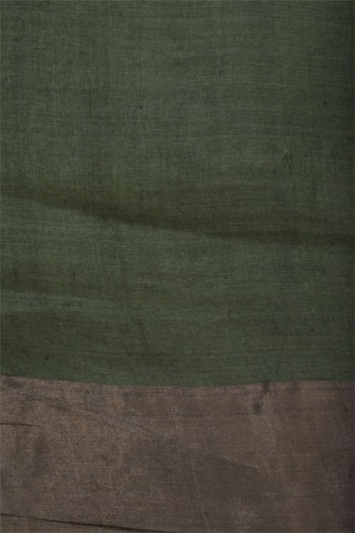 Grey tussar saree with green tissue border-12675