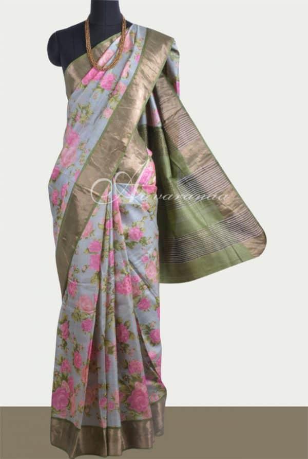 Grey tussar saree with green tissue border-0