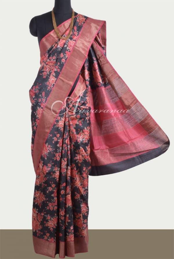 Black tussar saree with maroon tissue border-0