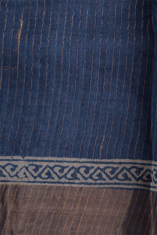 Indigo tussar saree with tissue border-12681