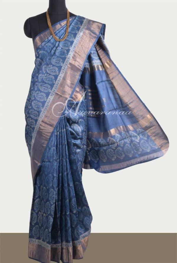 Indigo tussar saree with tissue border-0