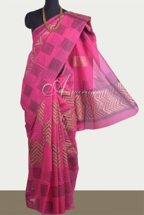 Pink semi organza saree-0
