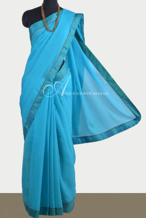 Blue chiffon saree with silk border-0