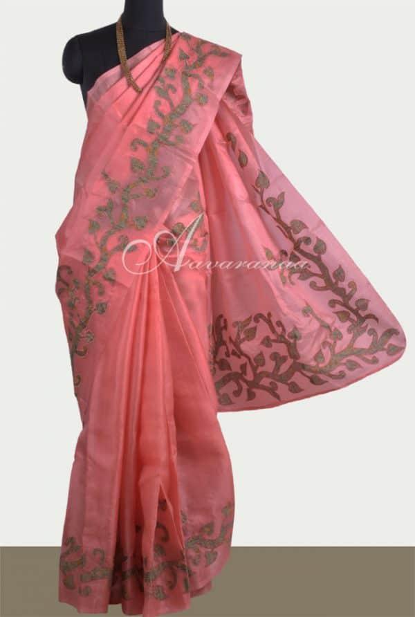 Peach organza sari with applique work -0