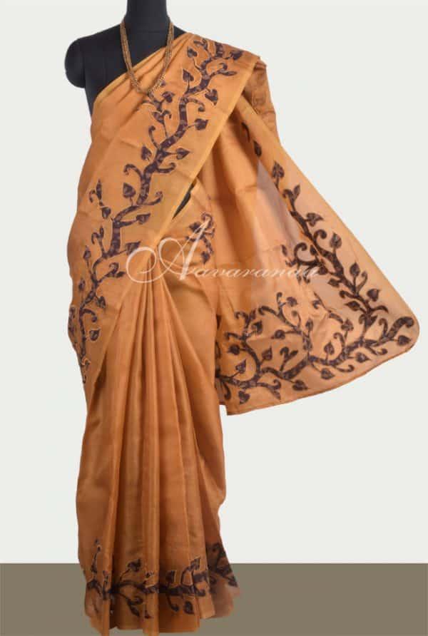 Mustard organza sari with applique work -0