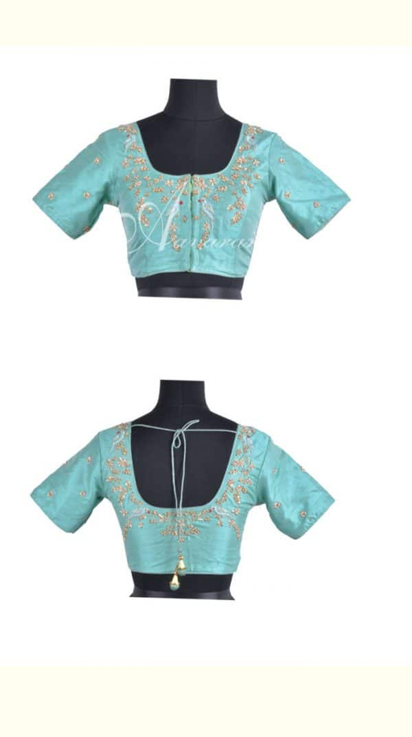 Turquoise raw silk blouse with embroidery-0