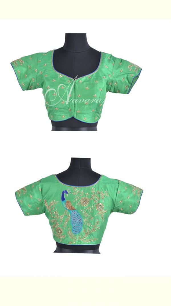 Embroidered green raw silk blouse-0