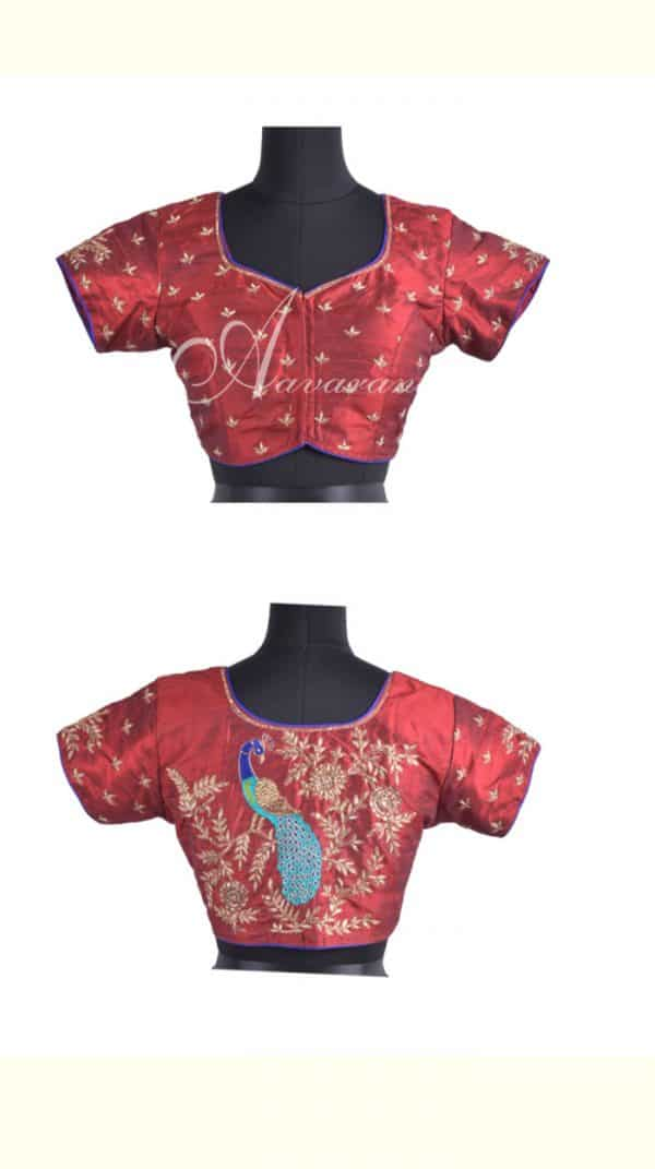 Maroon raw silk blouse with embroidery-0