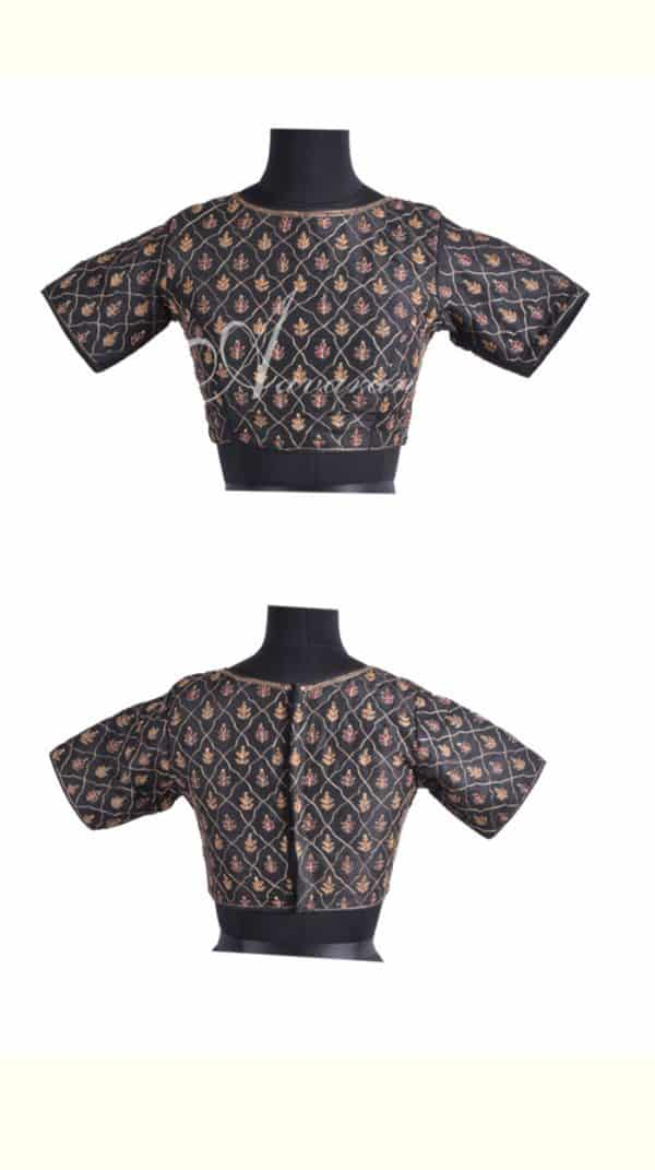 Black raw silk blouse with embroidery-0