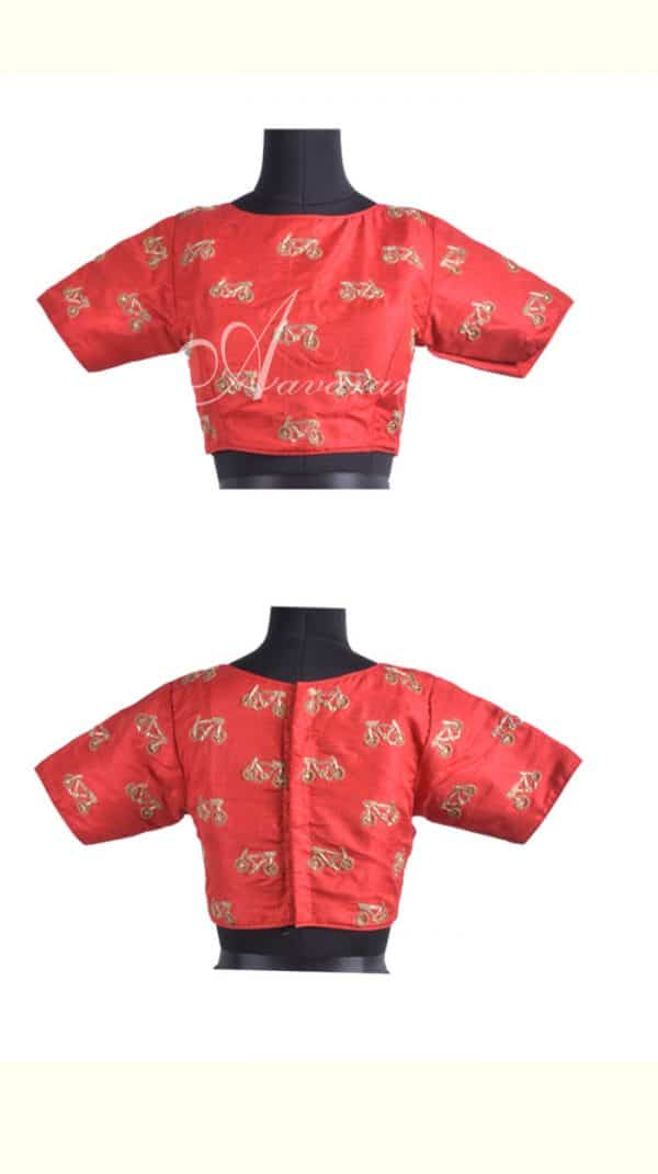 Embroidered raw silk blouse in red-0
