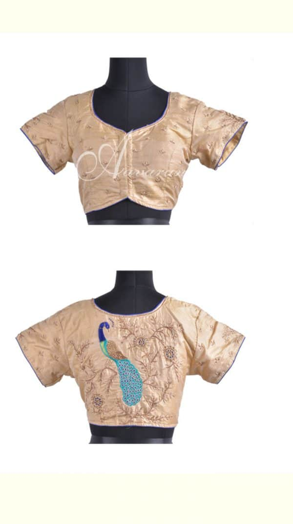 Embroidered raw silk blouse in beige-0