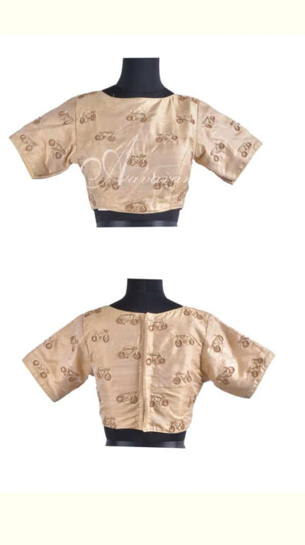Beige readymade blouse with embroidery-0