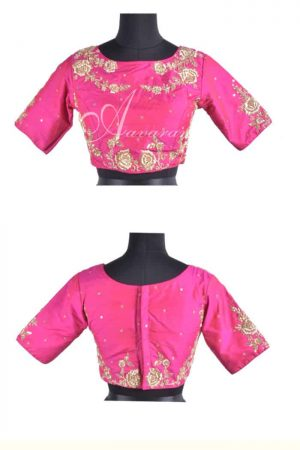 Pink raw silk blouse with embroidery-0