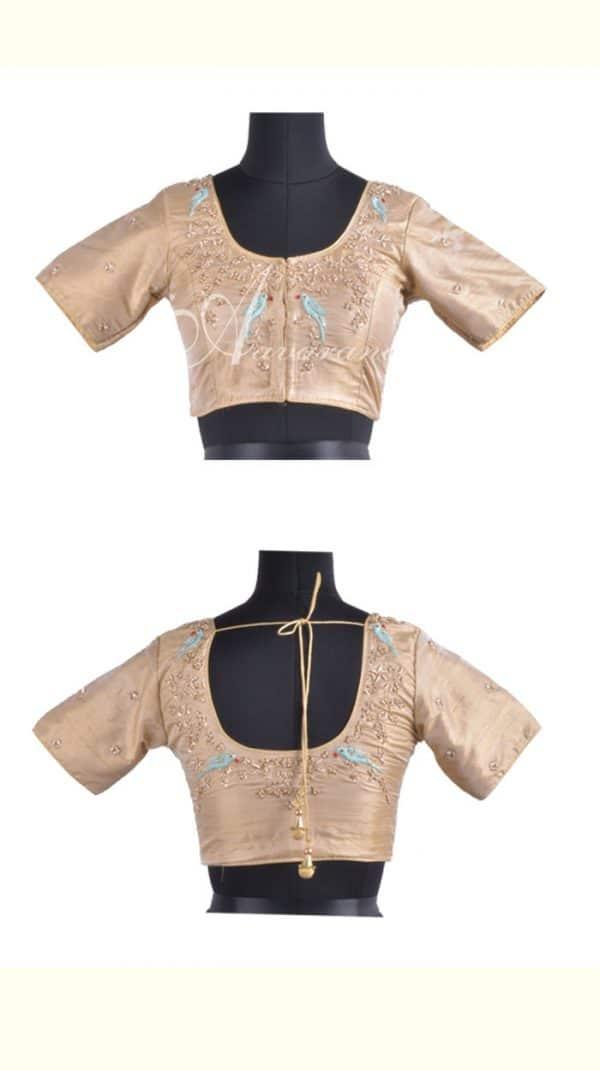 Beige readymade blouse in raw silk-0