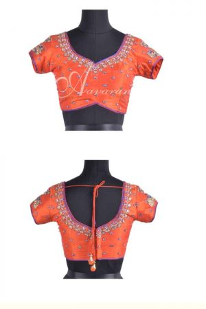 Orange raw silk blouse with embroidery-0