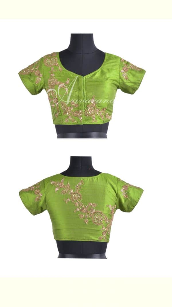 Light green raw silk blouse with embroidery-0