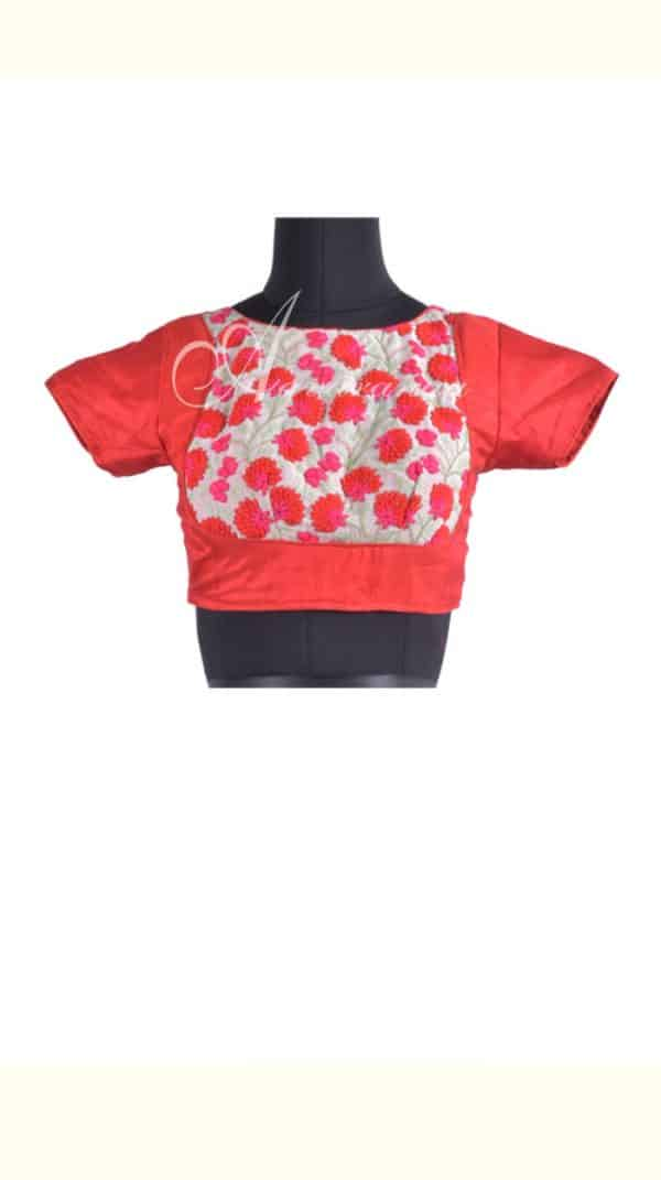 Embroidered readymade blouse in red-0