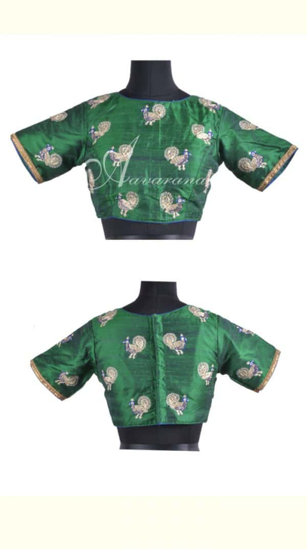 Dark green raw silk blouse with embroidery-0