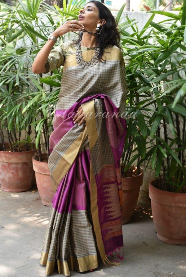 Grey purple long border soft silk saree-0