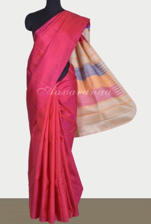 Pinkish red plain silk saree-0